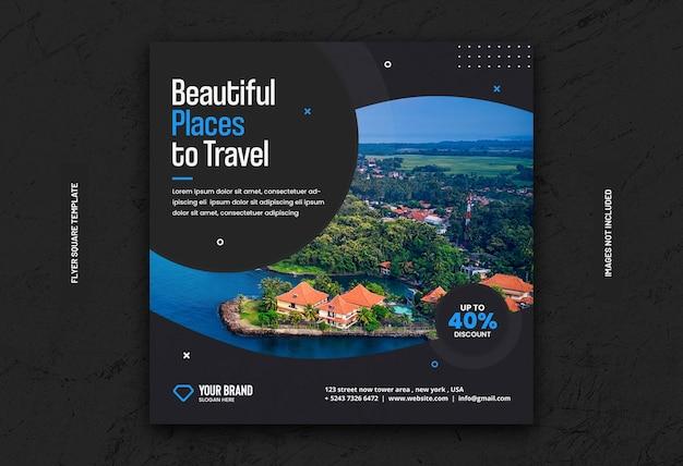 旅行ツアーのinstagramの投稿バナーまたは正方形のチラシテンプレート
