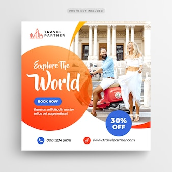 Travel tour instagram post banner or square flyer template