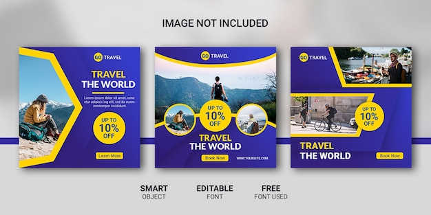 Travel tour instagram post template