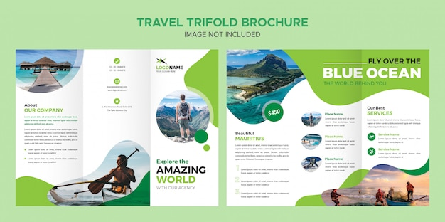 Шаблон брошюры travel trifold