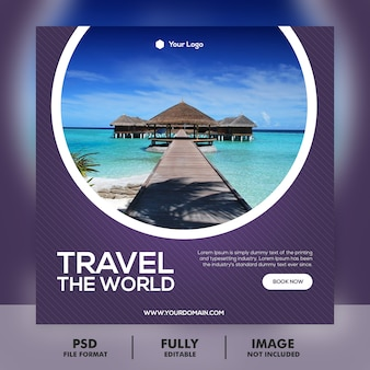 Travel vacation holiday post banner or square flyer
