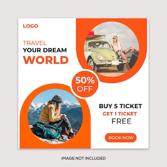 Travel vacation tours instagram  post template