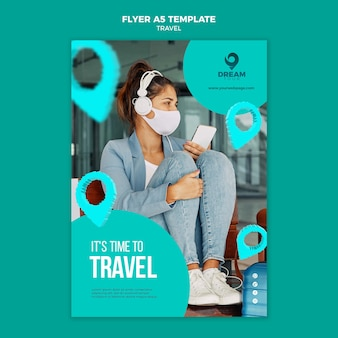 Travel with mask a5 flyer template