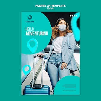 Travel with mask poster template
