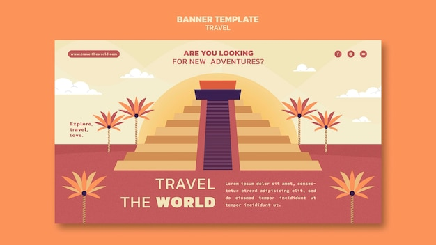 Travel the world horizontal banner template with landmarks
