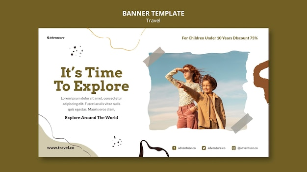 Travel the world horizontal banner template