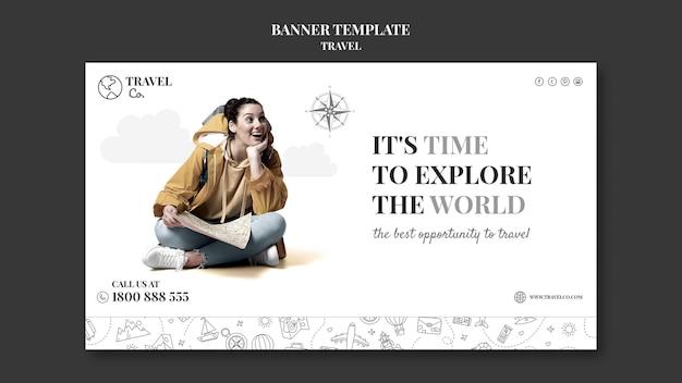 Travel the world horizontal banner
