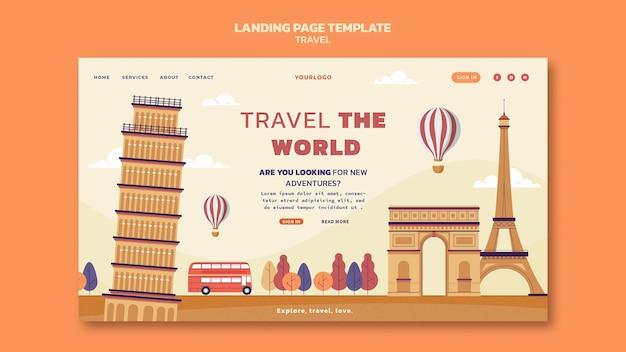 Viaggia nel modello di pagina di destinazione del mondo