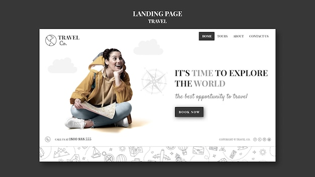 Travel the world landing page Free Psd