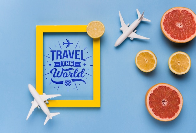Travel the world, motivational lettering quote for holidays traveling concept