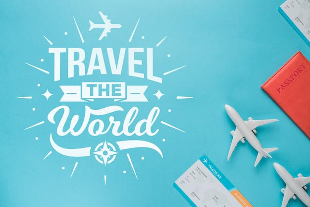 Viaggia per il mondo, citazione di lettering motivazionale per le vacanze che viaggiano concetto