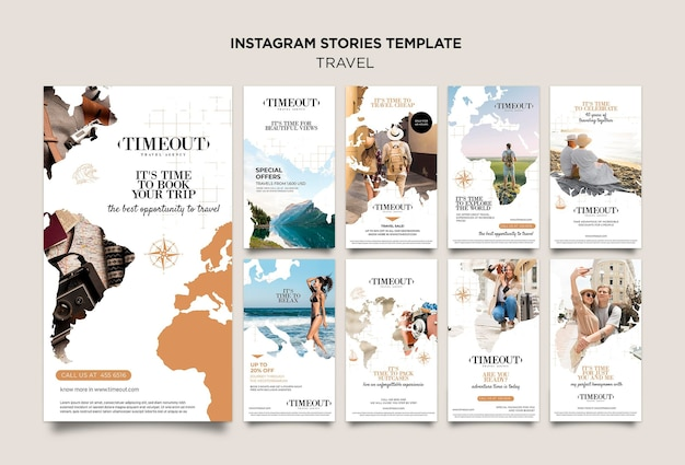 Travel the world social media stories template