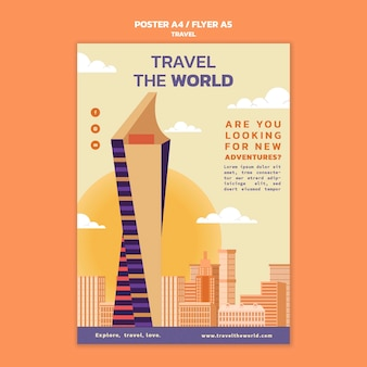 Viaggia nel modello di poster verticale del mondo