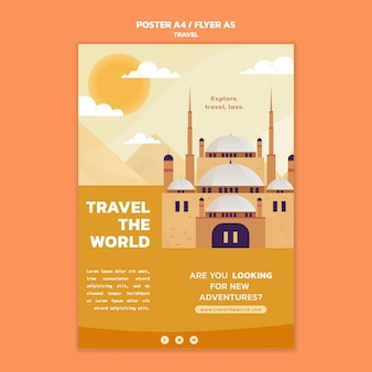Travel the world vertical poster template