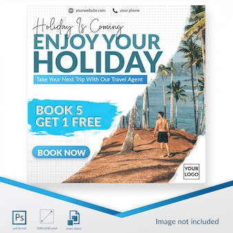 Traveling banner social media post template