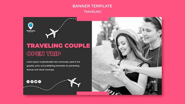 Traveling concept banner template