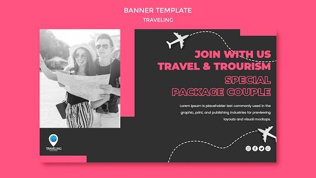 Modello di banner concetto di viaggio