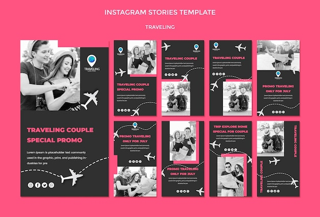 Traveling concept instagram stories template