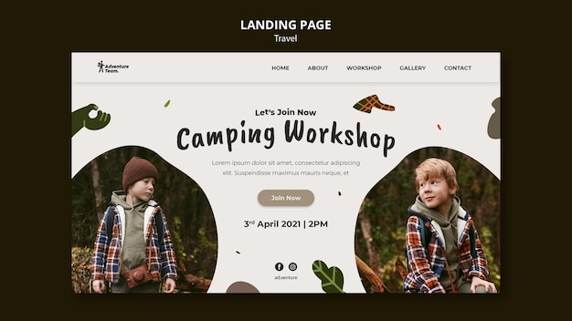 Traveling landing page with photo