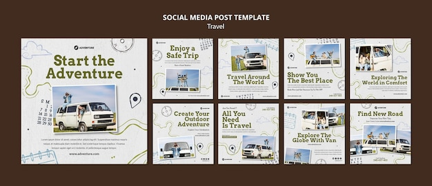 Traveling social media posts template with photo