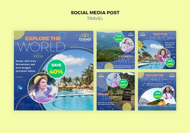 Traveling social media posts with photo