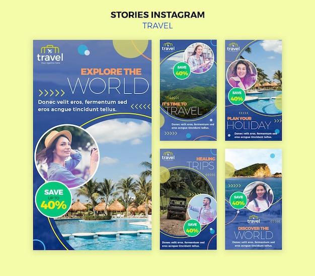 Путешествующие истории из соцсетей с фото Premium Psd