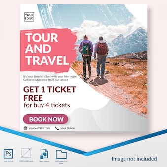 Traveling time discount offer social media post template