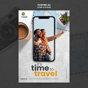 Modello di poster del tempo di viaggio