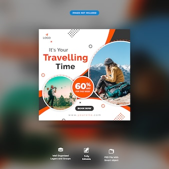 Traveling time social media banner template premium psd