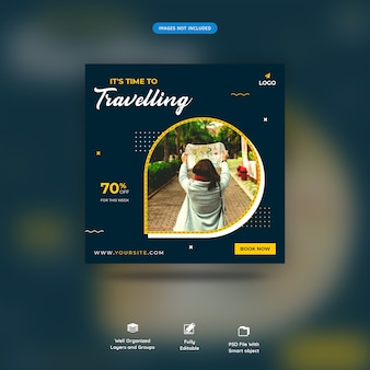 Traveling time social media post or banner template premium psd