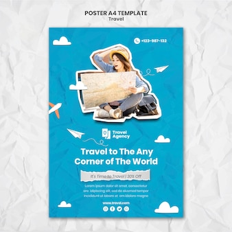 Traveling vertical poster template with photo