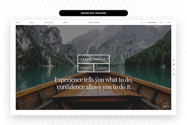 Traveling website landing page
