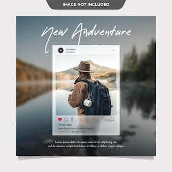 Travelling social media post template