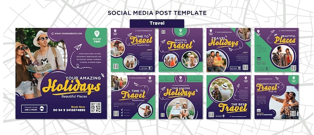 Travelling social media posts with photo