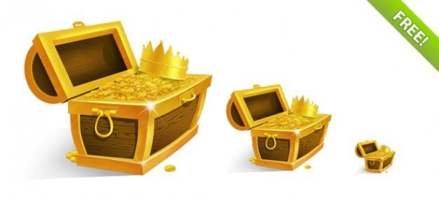 Сундук с сокровищами с золотых монет и короны