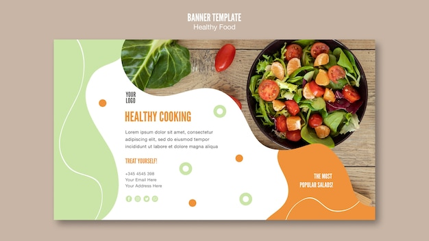 Treat yourself with healthy food banner template