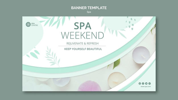 Treatment cream spa weekend banner template