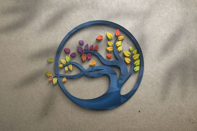 Tree glass logo mockup - glass mockup on a wall