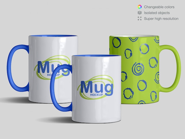 Tree realistic front view classic  ceramic mugs mockup template