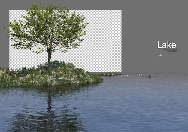 Trees on the grassy hill in the middle of the lake