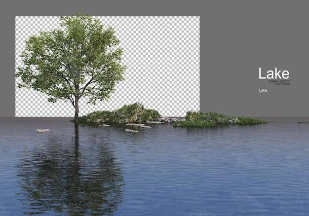 호수 한가운데에 잔디 언덕에 나무