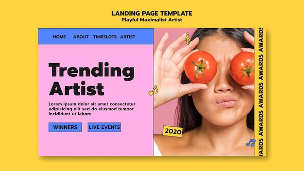 Trending artist landing page template