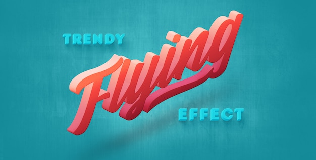 Trendy flying 3d text style effect
