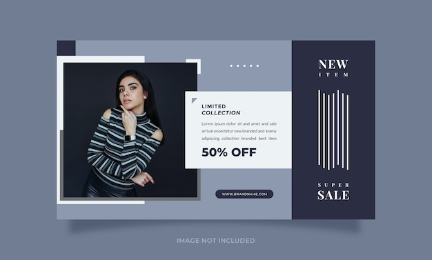 Trendy and modern blue design social media banner promotion