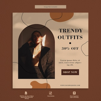 Trendy outfits luxury fashion instagram post social media premium template