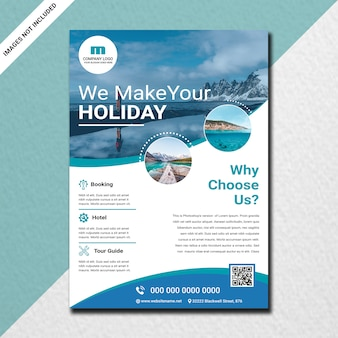 Trendy travel flyer design