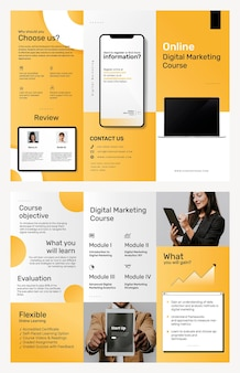 Tri-fold business course brochure template psd for digital marketing