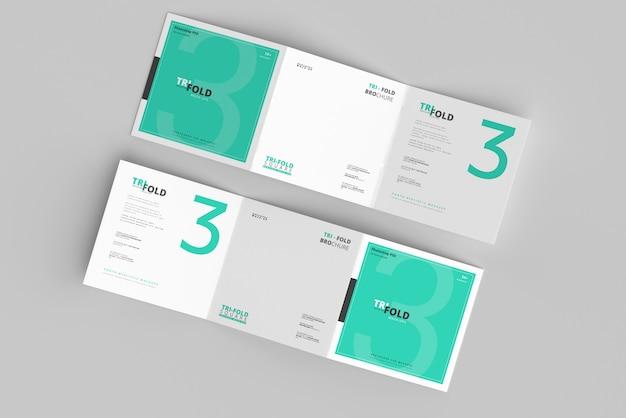 Tri-fold square brochure mockup