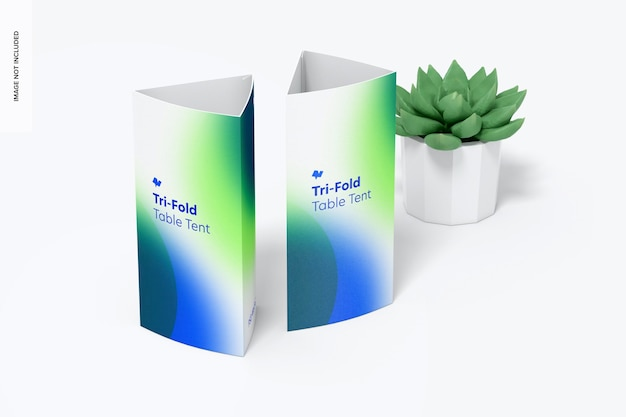 Tri-fold table tents with pot plant mockup