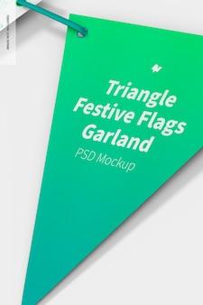 Triangle festive flags garland mockup, close up